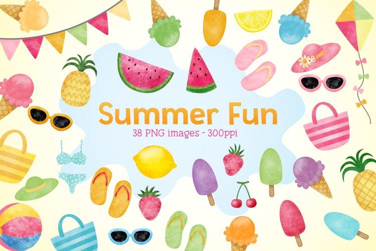 Summer Fun Watercolor Clip Arts