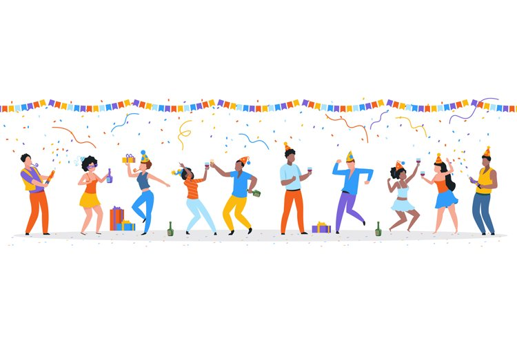 Cartoon party people. Trendy happy dancing group of men and example image 1