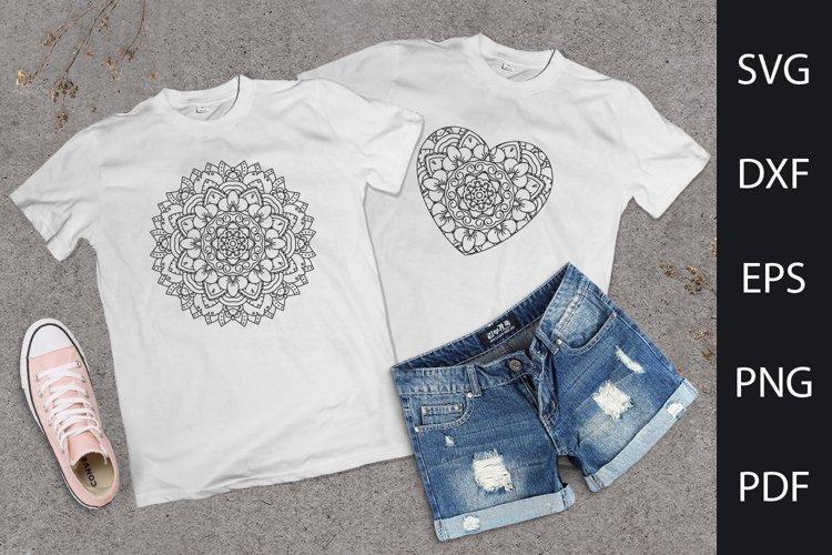 Floral mandala SVG. Heart mandala. Black and white ornament