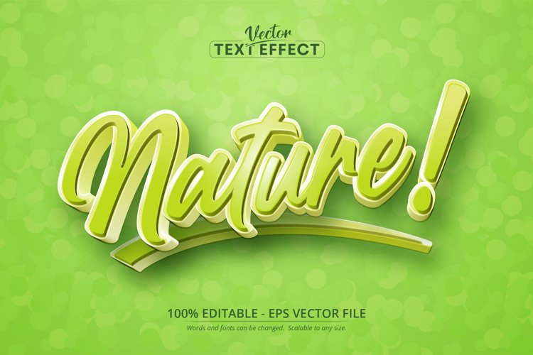 Nature text, cartoon style editable text effect