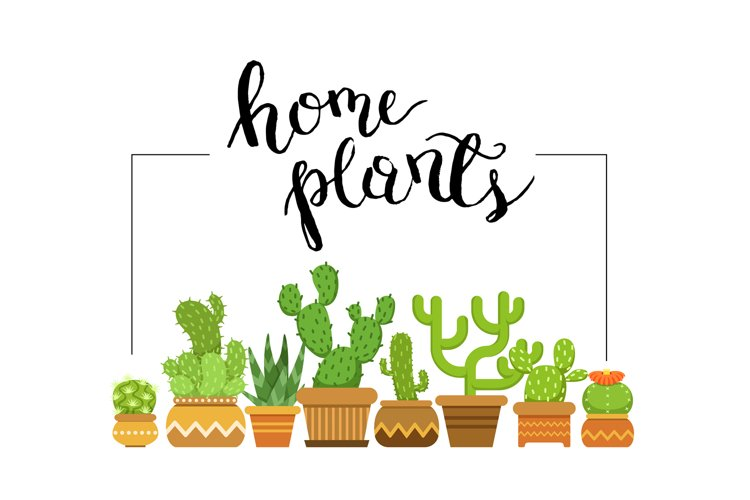 Vector home plants framed illustration with home cacti in po example image 1