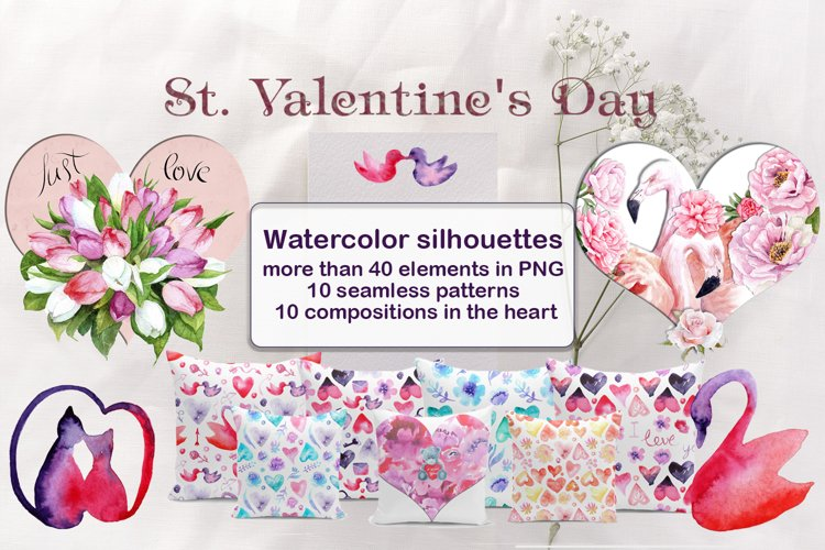 Watercolor Valentine's Day example image 1