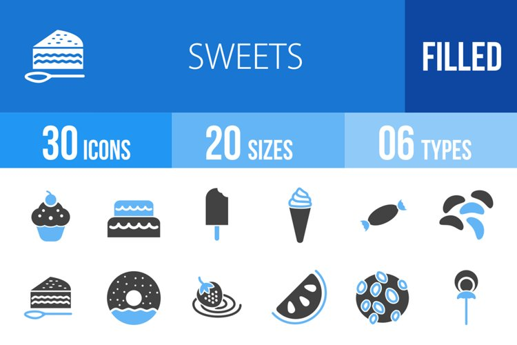 360 Sweets & Confectionery Filled Blue & Black Icons example image 1