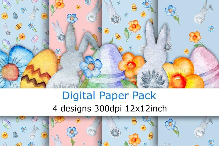 Watercolor Easter digital paper pack