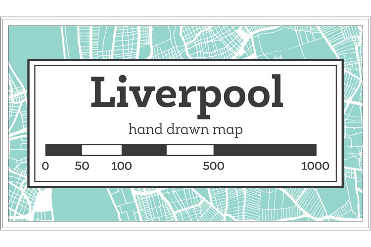 Liverpool Great Britain City Map in Retro Style. Outline Map example image 1