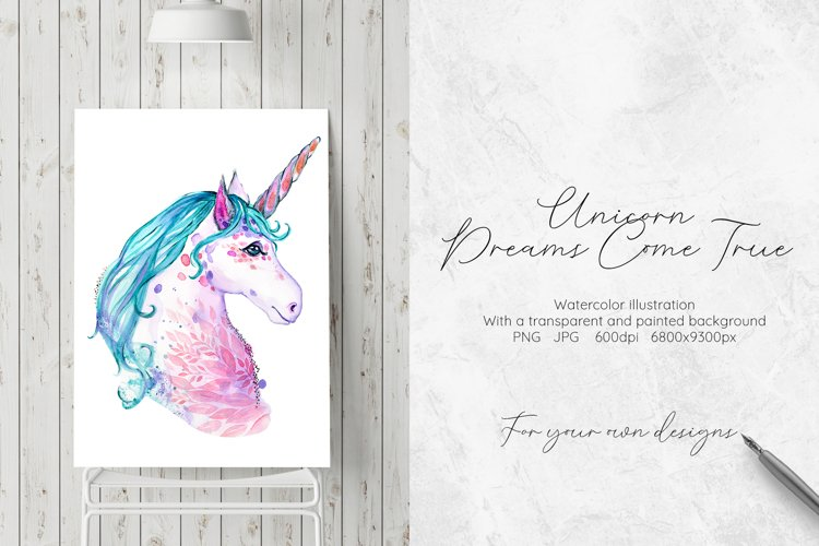 Hand painted watercolor illustration of Unicorn example image 1