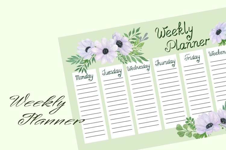Weekly planner Anemone Flowers watercolor illustration