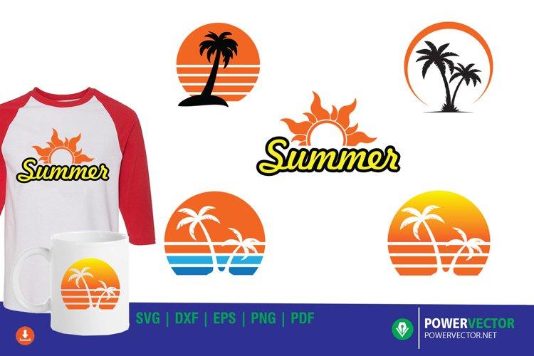 Summer Clipart Set SVG - Sunset, Palm Tree Vector Art example image 1