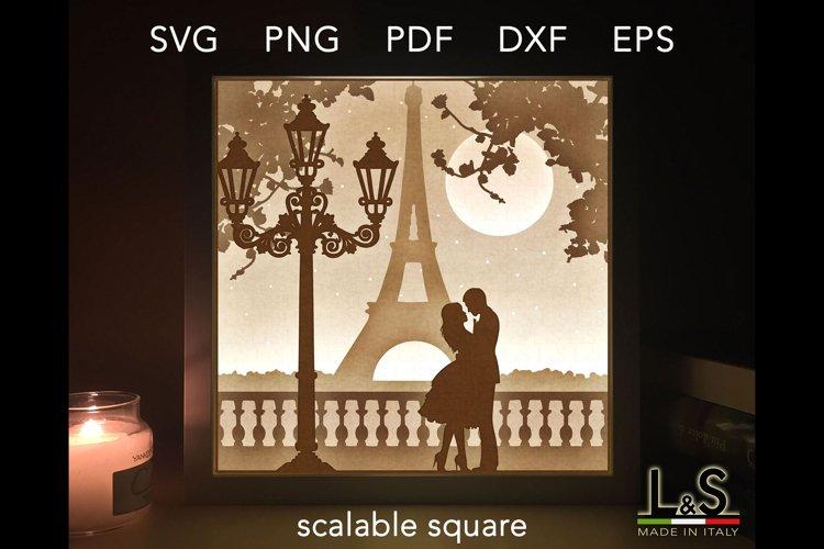 3D Wedding Light Box Template, Layered Love Shadow Box svg example image 1