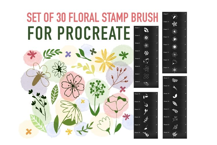 Procreate Brush stamp, Floral Stamps Brushes example image 1