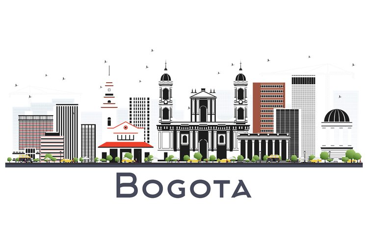 Bogota Colombia City Skyline with Gray Buildings Isolated example image 1