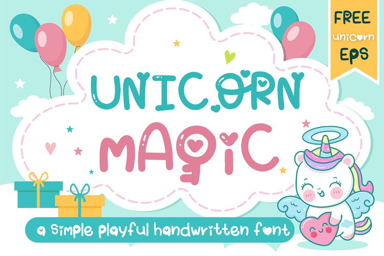 Unicorn Magic A playful handwritten font- Kawaii style