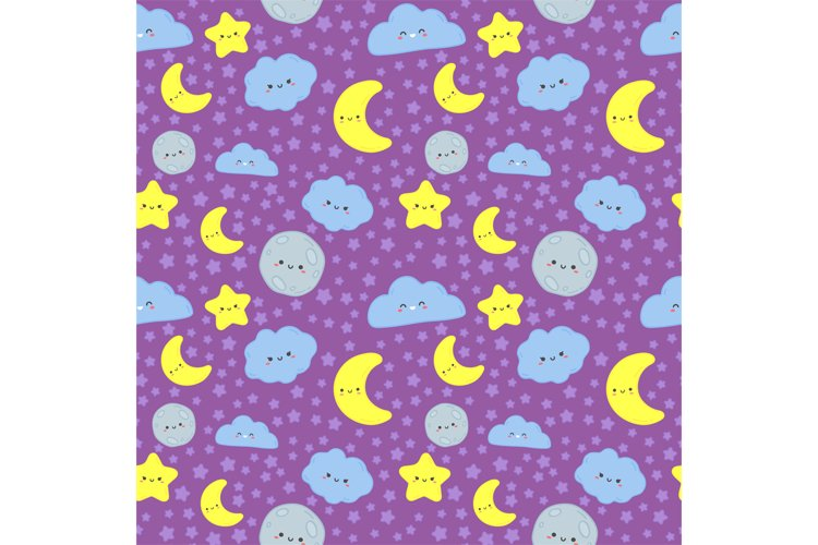 Night sky seamless pattern. Cute moon with sleep face, cloud example image 1
