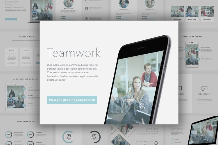 Teamwork PowerPoint Template example image 1