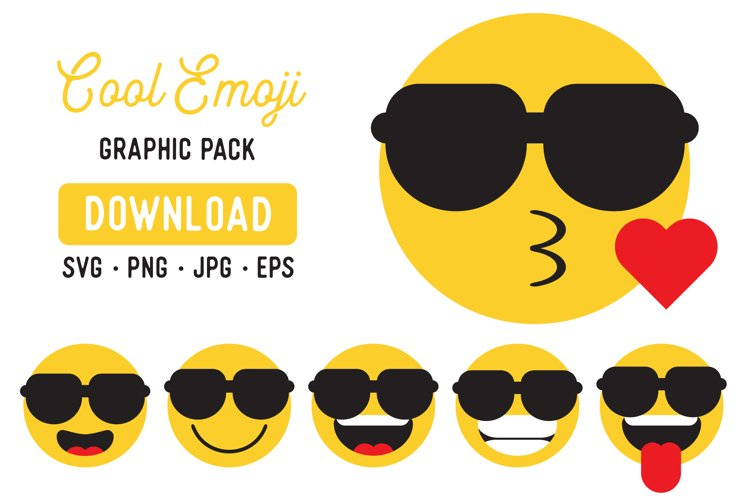 Cool Emoji Clipart Pack - Emoji Graphic Bundle example image 1
