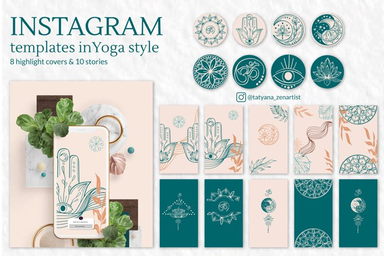 Collection of Instagram templates in modern yoga art style example image 1