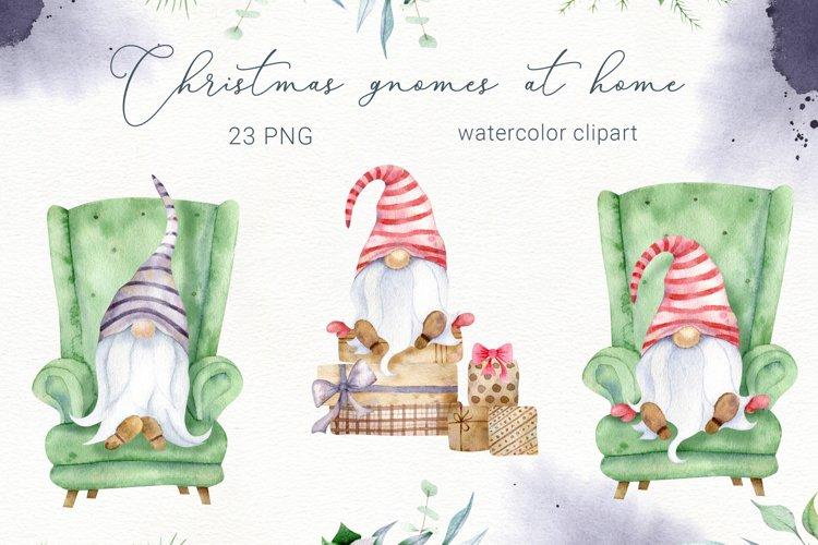 Christmas Gnomes clipart, watercolor png, gnome house example image 1