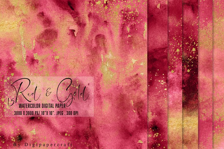 Burgundy watercolor paper, Gold foil watercolor, Red & Gold example image 1