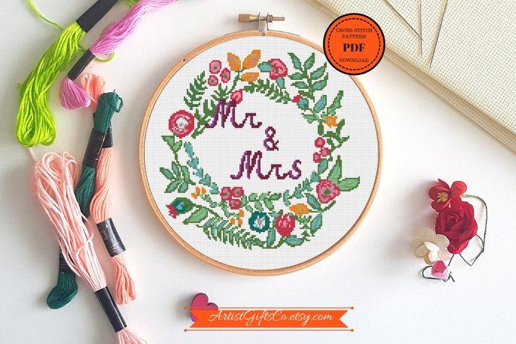 Cross Stitch Beautiful round Mr&Mrs cross stitch pattern PDF example image 1