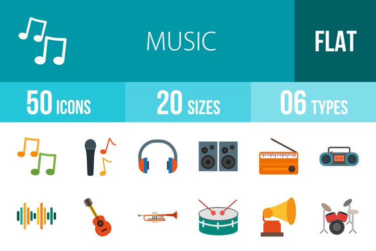 50 Music Flat Multicolor Icons example image 1