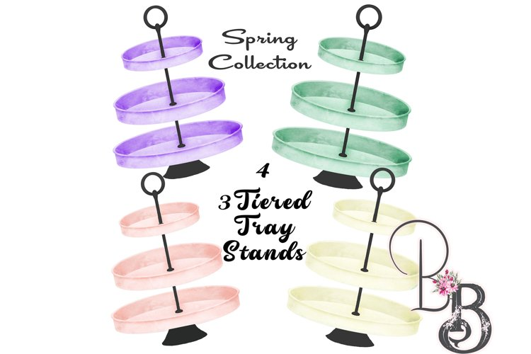 4, 3 Tiered Tray Stands Spring Colors Bundle example image 1