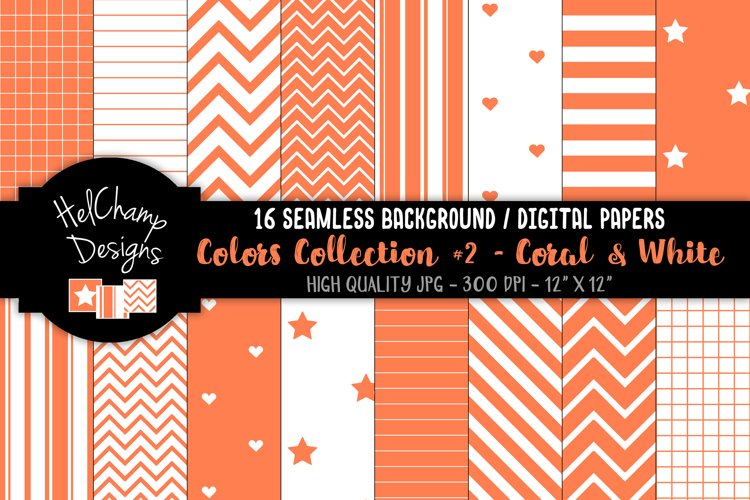 16 seamless Digital Papers - Coral and White- HC161