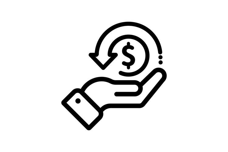 Cashback icon, money, cash back rebate. Hand example image 1