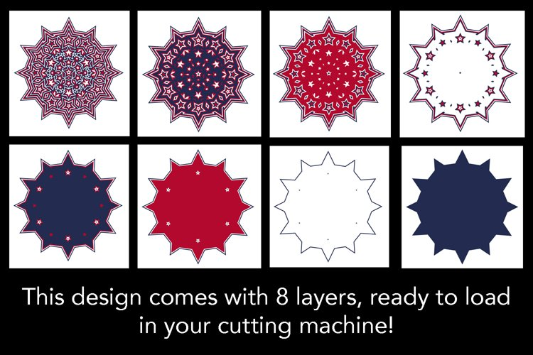 3D Mandala 8 Layers Stars and Stripes SVG Cut File 4th July example 2
