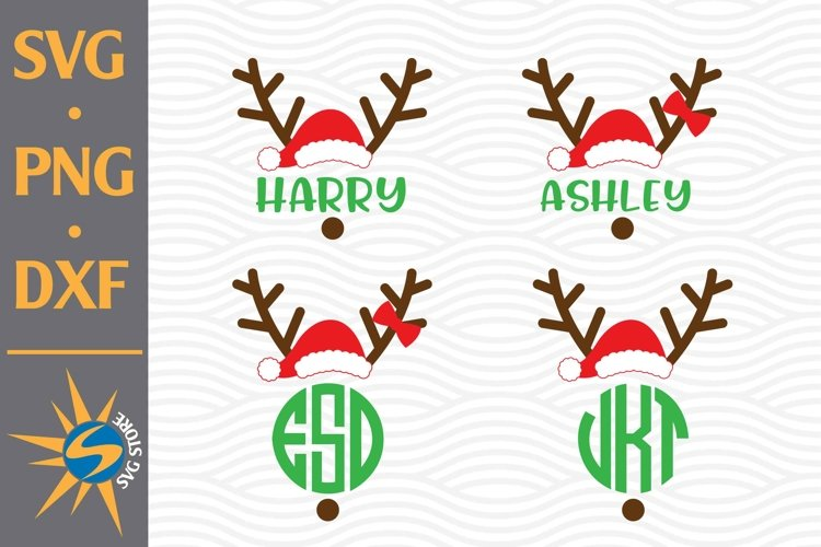 Reindeer Face Christmas SVG, PNG, DXF Digital Files Include example image 1