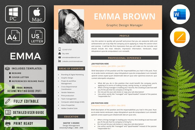 Modern CV with picture, Cover Letter and References Page example image 1