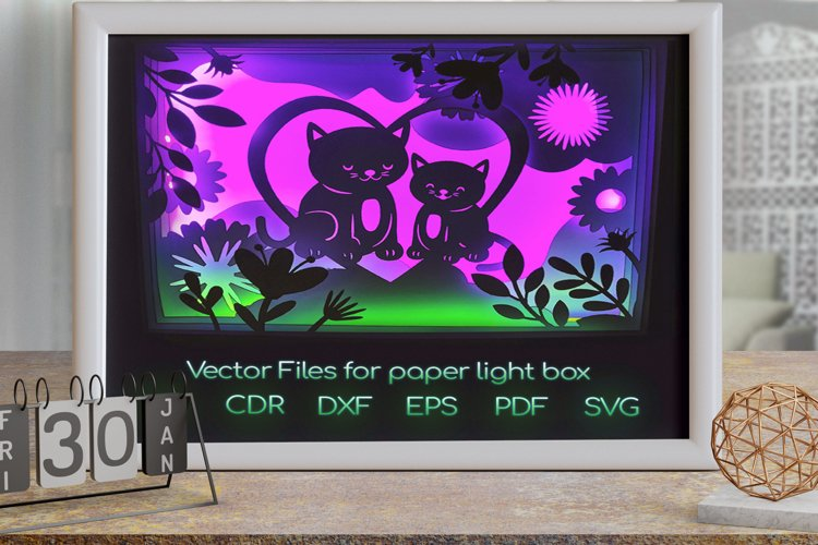 Cat love Light box PNG SVG DXF CDR template Papercut example image 1