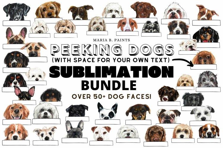Peeking Dog Lover Sublimation Designs Watercolor Labels