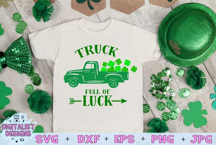 truck svg, clover svg, st patrick's day svg, kids svg, luck example image 1