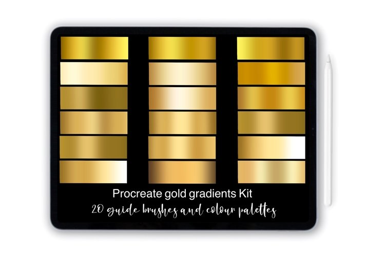 Procreate gold gradient brushes and palettes