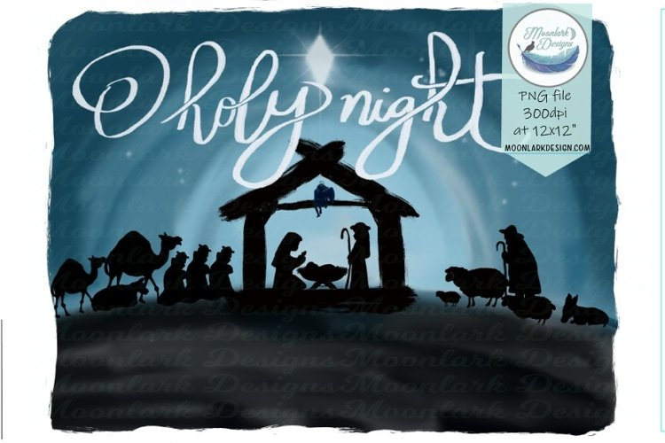 Oh Holy Night, Christmas Nativity Scene Watercolor PNG example image 1