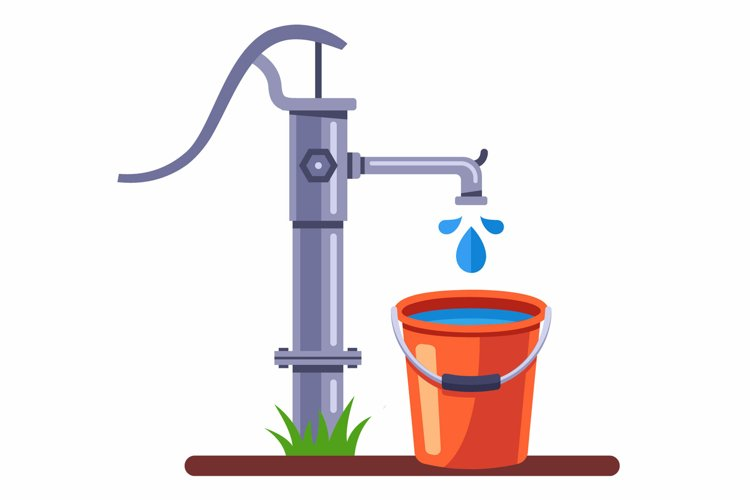 pump a bucket of water from the well. rural water column. example image 1