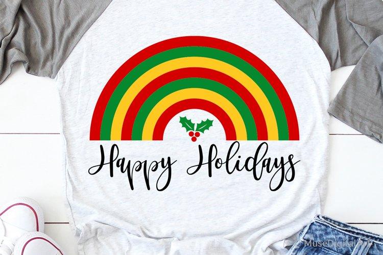 Happy Holidays Svg, Christmas Svg, Christmas Rainbow Svg
