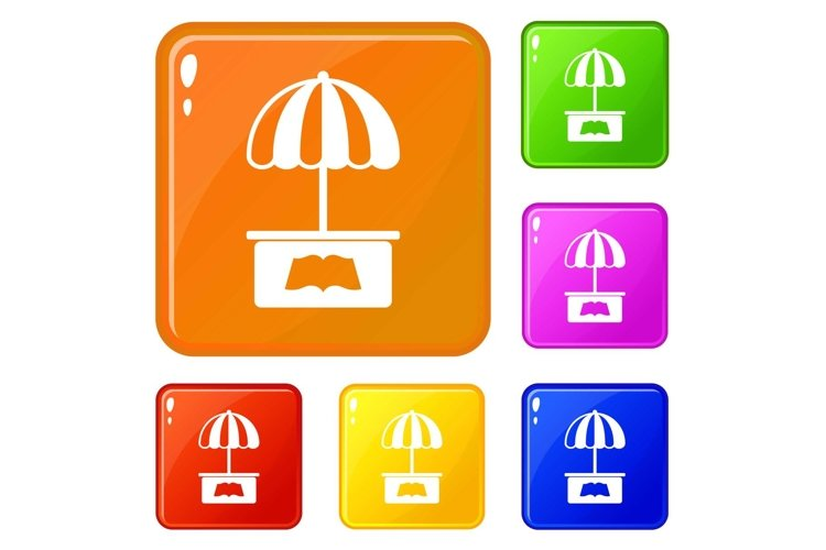 City stall icons set vector color example image 1