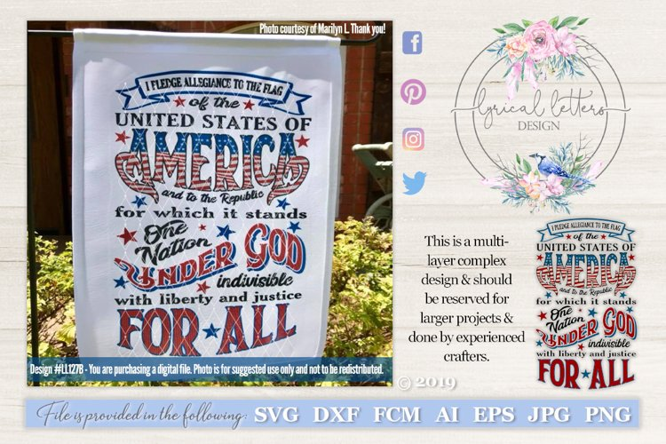 Pledge of Allegiance Patriotic July 4th SVG DXF LL127B example image 1