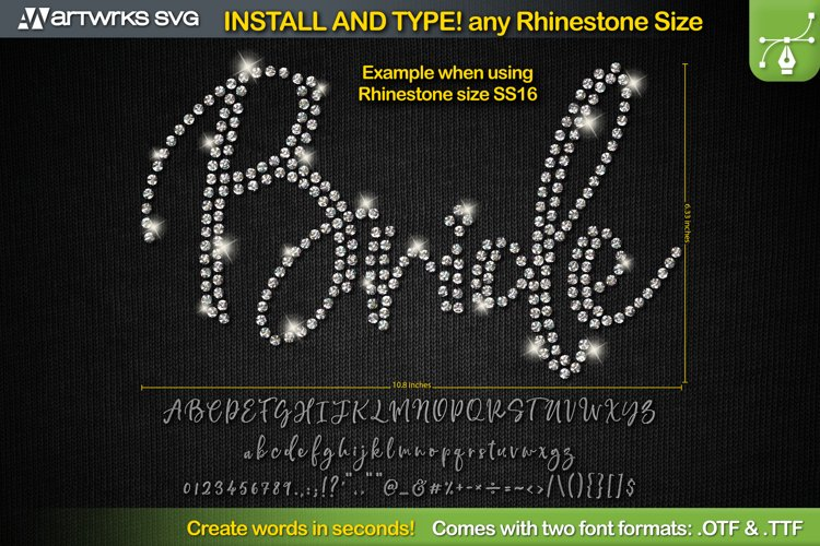 Editable Rhinestone template Script font TTF Font by Artwork