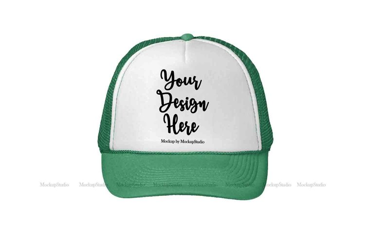 Green Hat Mockup, St Patricks Snapback Cap Mock Up Display example image 1