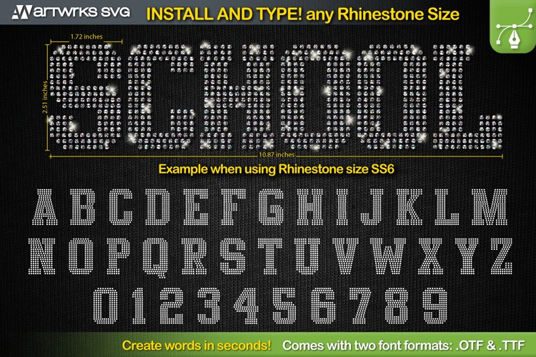 Rhinestone template Editable Athletic TTF Font by Artworks