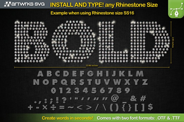 Rhinestone template Editable Modern TTF Font by Artworks SVG