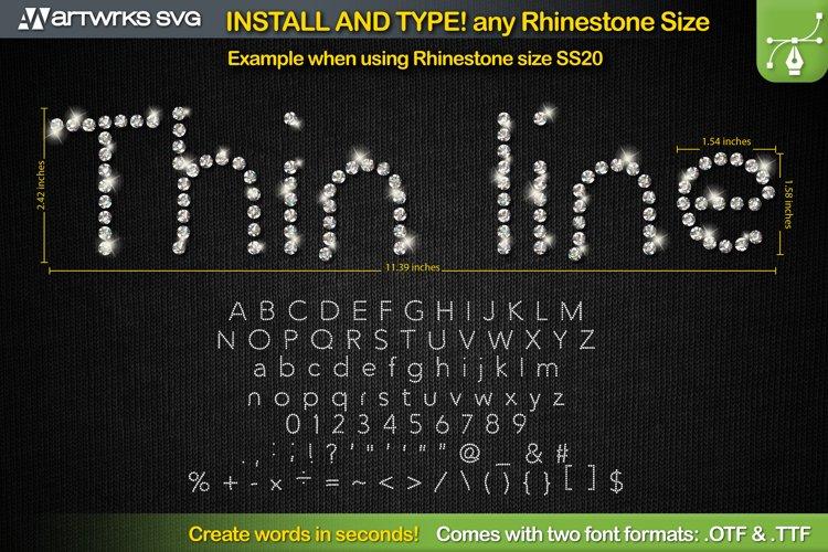 Rhinestone template Editable Skinny TTF Font by Artworks SVG example image 1