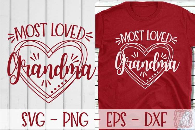 Most Loved Grandma Heart Valentine SVG example image 1