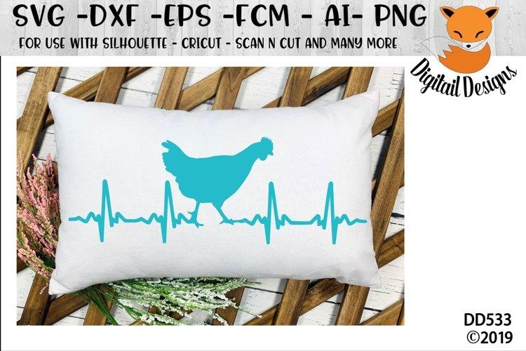 Chicken EKG Heartbeat SVG - Silhouette - Cricut