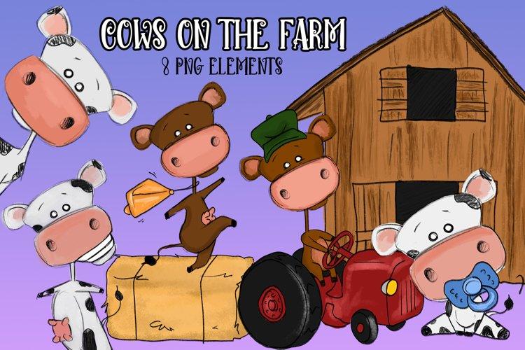 Cows on the Farm  Cow Illustrations   Farm Illustrations