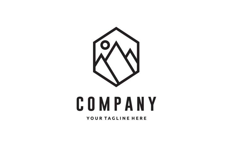 line art mountain minimalist logo design example image 1