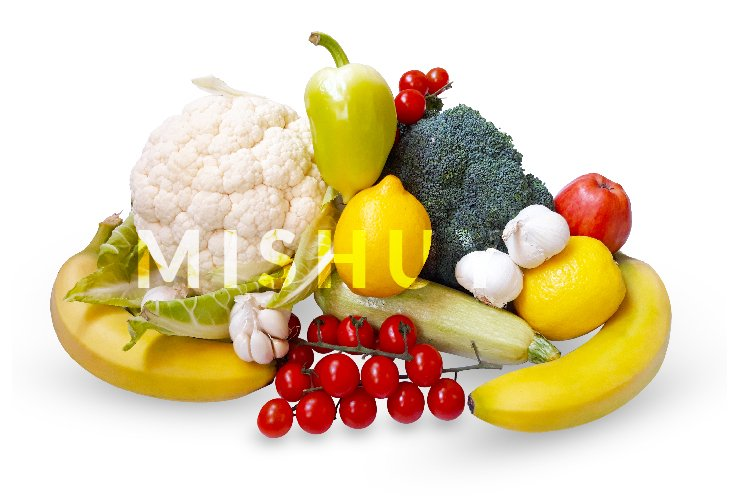 Fruits and vegetables isolated on white background example image 1