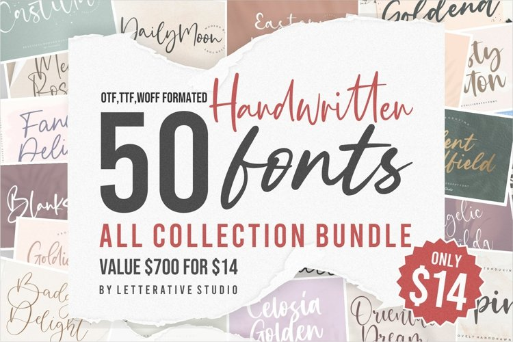 Handwritten 50 Fonts | All Collection Bundle example image 1